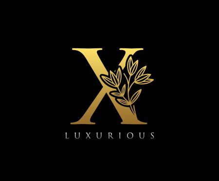 Gold X letter luxury beauty flourishes ornament monogram logo Illustration