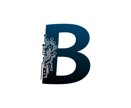 Letter B Digital Network , Technology and digital abstract line connection vector logo. (sign, symbol, icon, design element). New Technology design.