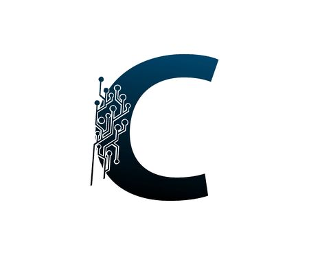Letter C Digital Network , Technology and digital abstract line connection vector logo. (sign, symbol, icon, design element). New Technology design.