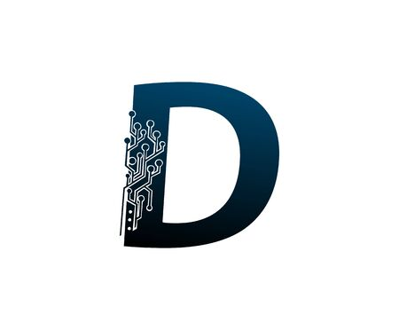 Letter D Digital Network , Technology and digital abstract line connection vector logo. (sign, symbol, icon, design element). New Technology design. Illustration