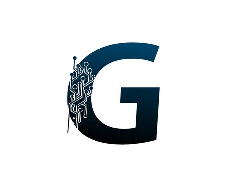 Letter G Digital Network , Technology and digital abstract line connection vector logo. (sign, symbol, icon, design element). New Technology design.
