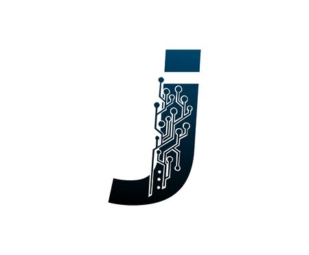 Letter J Digital Network , Technology and digital abstract line connection vector logo. (sign, symbol, icon, design element). New Technology design.