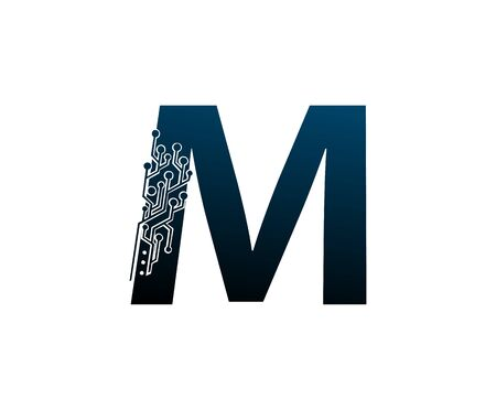 Letter M Digital Network , Technology and digital abstract line connection vector logo. (sign, symbol, icon, design element). New Technology design. Illustration