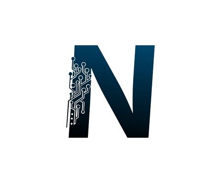 Letter N Digital Network , Technology and digital abstract line connection vector logo. (sign, symbol, icon, design element). New Technology design.