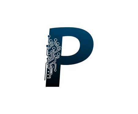 Letter P Digital Network , Technology and digital abstract line connection vector logo. (sign, symbol, icon, design element). New Technology design. Illustration