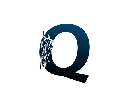 Letter Q Digital Network , Technology and digital abstract line connection vector logo. (sign, symbol, icon, design element). New Technology design.