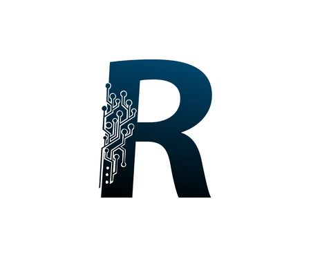 Letter R Digital Network , Technology and digital abstract line connection vector logo. (sign, symbol, icon, design element). New Technology design. Illustration