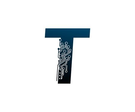 Letter T Digital Network , Technology and digital abstract line connection vector logo. (sign, symbol, icon, design element). New Technology design.