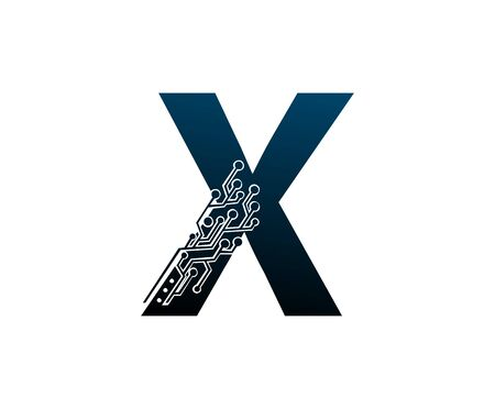 Letter X Digital Network , Technology and digital abstract line connection vector logo. (sign, symbol, icon, design element). New Technology design. Illustration
