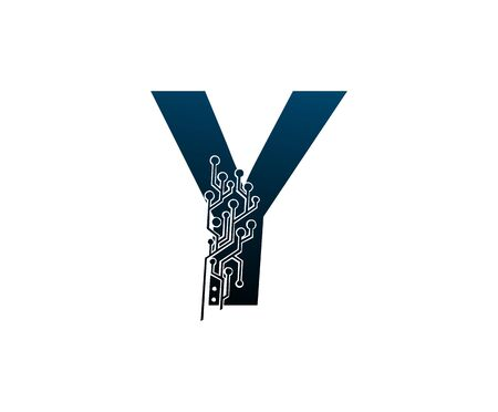 Letter Y Digital Network , Technology and digital abstract line connection vector logo. (sign, symbol, icon, design element). New Technology design.