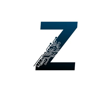 Letter Z Digital Network , Technology and digital abstract line connection vector logo. (sign, symbol, icon, design element). New Technology design.