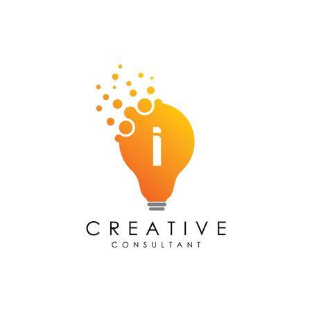 Creative I Lamp Letter Logo Çizim