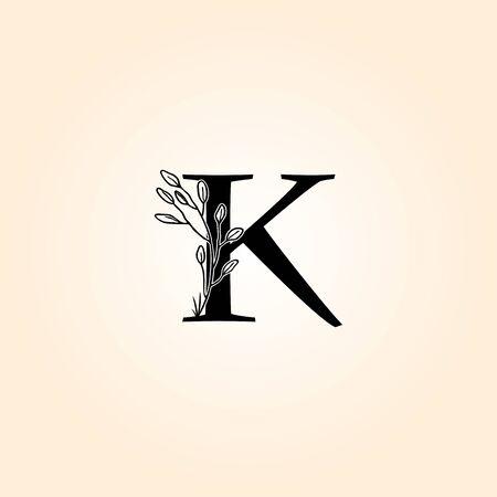 Blossom K Letter Floral Logo Design