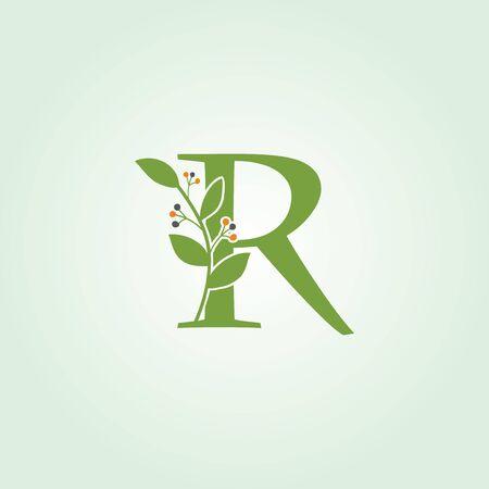 Green Leaf R Letter Floral Logo Design