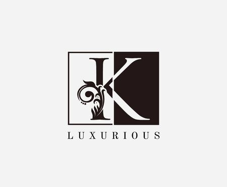 Vintage K Letter Classic Logo. Black and White K With Classy Leaves Shape design perfect for fashion, Jewelry, Beauty Salon, Cosmetics, Spa, Hotel and Restaurant Logo.