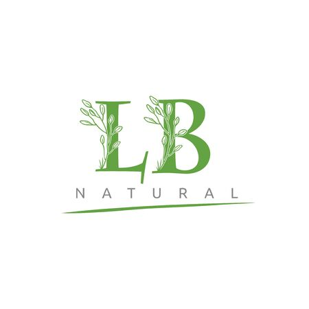 Nature LB Letter Flower Logo Design Illustration