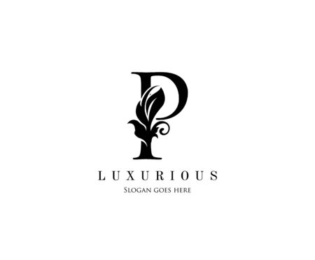 Initial P letter luxury beauty flourishes ornament monogram logo Illustration