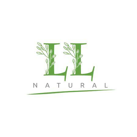Nature LL Letter Flower Logo Design