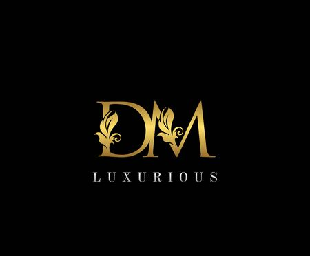 Premium letters D,M and DM logo icon vector design. Luxury decorative logotype. Print monogram initials stamp.
