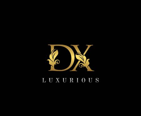 Premium letters D,X and DX logo icon vector design. Luxury decorative logotype. Print monogram initials stamp. Illustration