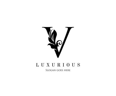 Initial V letter luxury beauty flourishes ornament monogram logo