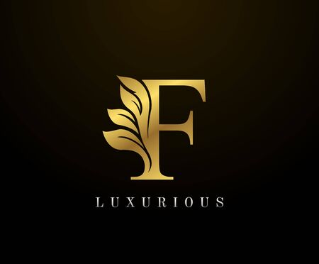 Golden Elegant letter F Floral logo. Vintage drawn emblem for book design, weeding card, brand name, business card, Restaurant, Boutique, Hotel. Logo