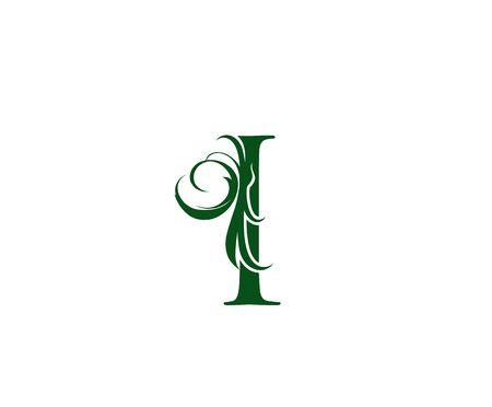 Vintage Green I Letter Floral logo. Vintage drawn emblem for book design, weeding card, brand name, business card, Restaurant, Boutique, Hotel. Logo