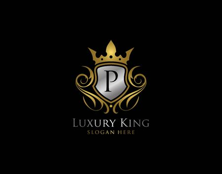 Luxury Shield P Letter Gold Logo, Golden P Classic Protection Symbol