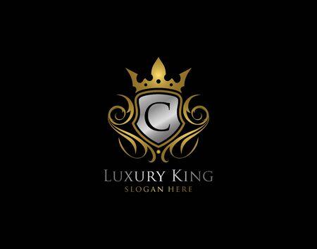 Luxury Shield C Letter Gold Logo, Golden C Classic Protection Symbol
