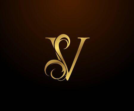 Graceful Initial V Gold Letter logo. Vintage drawn emblem for book design, weeding card, brand name, business card, Restaurant, Boutique, Hotel.