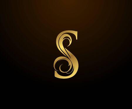 Graceful Initial S Gold Letter logo. Vintage drawn emblem for book design, weeding card, brand name, business card, Restaurant, Boutique, Hotel. Logo