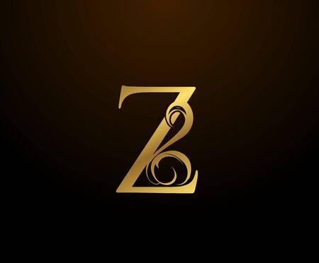 Graceful Initial Z Gold Letter logo. Vintage drawn emblem for book design, weeding card, brand name, business card, Restaurant, Boutique, Hotel.