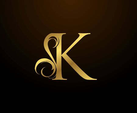 Graceful Initial K Gold Letter logo. Vintage drawn emblem for book design, weeding card, brand name, business card, Restaurant, Boutique, Hotel.