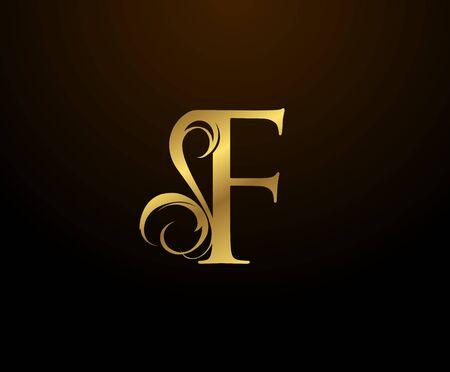 Graceful Initial F Gold Letter logo. Vintage drawn emblem for book design, weeding card, brand name, business card, Restaurant, Boutique, Hotel.