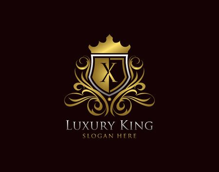 Luxury Shield X Letter Logo, Gold X Classic Protection Symbol