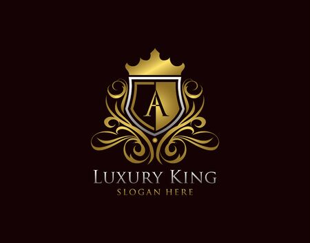 Luxury Shield A Letter Logo, Gold A Classic Protection Symbol