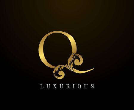 Golden Elegant letter Q Floral logo. Vintage drawn emblem for book design, weeding card, brand name, business card, Restaurant, Boutique, Hotel.
