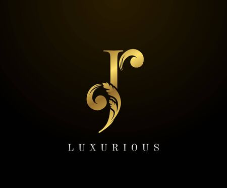 Golden Elegant letter J Floral logo. Vintage drawn emblem for book design, weeding card, brand name, business card, Restaurant, Boutique, Hotel.
