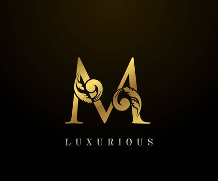 Golden Elegant letter M Floral logo. Vintage drawn emblem for book design, weeding card, brand name, business card, Restaurant, Boutique, Hotel.