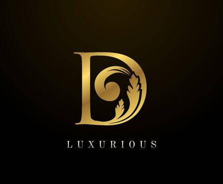 Golden Elegant letter D Floral logo. Vintage drawn emblem for book design, weeding card, brand name, business card, Restaurant, Boutique, Hotel.  Illustration