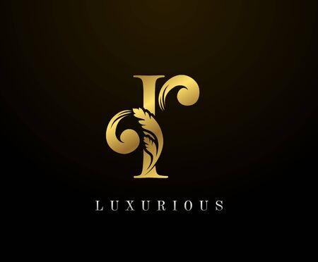 Golden Elegant letter I Floral logo. Vintage drawn emblem for book design, weeding card, brand name, business card, Restaurant, Boutique, Hotel.