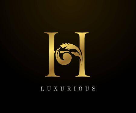 Golden Elegant letter H Floral logo. Vintage drawn emblem for book design, weeding card, brand name, business card, Restaurant, Boutique, Hotel.