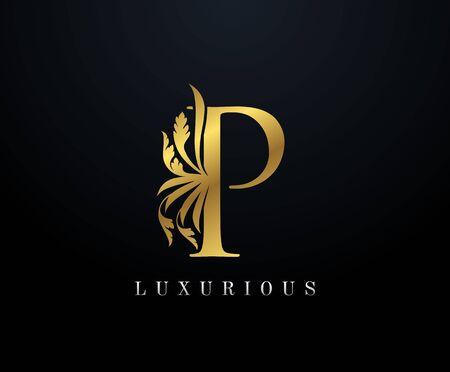 Gold Luxury letter P Floral logo. Vintage drawn emblem for book design, weeding card, brand name, business card, Restaurant, Boutique, Hotel.