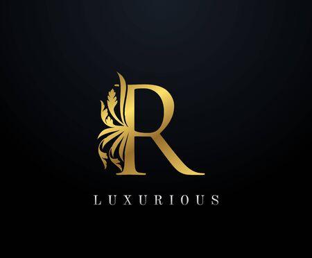 Gold Luxury letter R Floral logo. Vintage drawn emblem for book design, weeding card, brand name, business card, Restaurant, Boutique, Hotel. Illustration