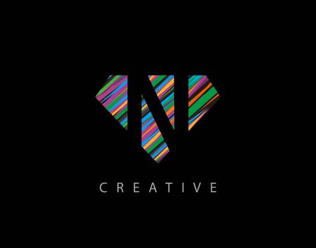 Letter N Abstract Diamond Logo. Creative N letter design with colorful Strips on diamond shapes. Logo