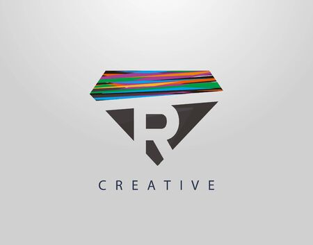 Initial R Abstract Diamond Logo. Creative R letter design with colorful Strips on diamond shapes.