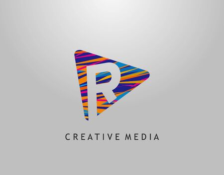 R Letter Logo. Colorful Pop Art Strip on PLay Icon Perfect for Cinema, Movie, Music,Video Streaming Concept.