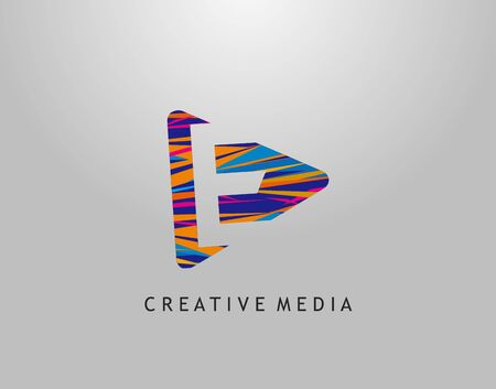 E Letter Logo. Colorful Pop Art Strip on PLay Icon Perfect for Cinema, Movie, Music,Video Streaming Concept.