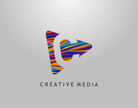 C Letter Logo. Colorful Pop Art Strip on PLay Icon Perfect for Cinema, Movie, Music,Video Streaming Concept.