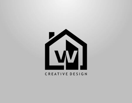 Real Estate W Letter Logo. Negative Space of Initial W and Minimalist House Shape